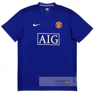 Divise calcio Away Manchester United Retro 2007 2008 Blu